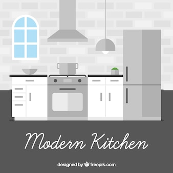 Interior moderno da cozinha no design plano