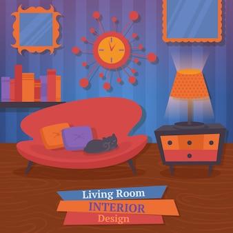 Interior, sala de estar, design, sofá, espelho, relógio, vetorial, Ilustração
