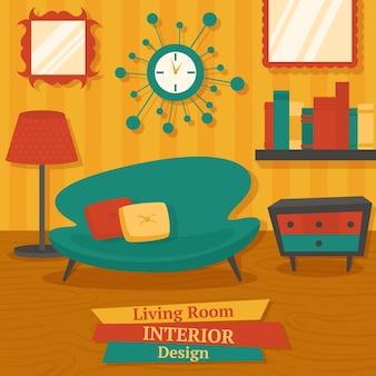 Interior, sala de estar, design, sofá, lâmpada, estante, vetorial, Ilustração