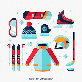Inverno equipamentos desportivos no design plano