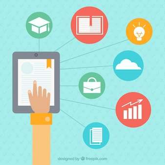 Ipad e ícones aprendizagem on-line fundo