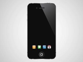 Iphone com ícones do vetor doca