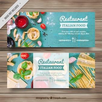 Italianos banners restaurante de comida