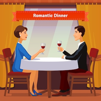 Jantar romântico para dois. Homem e mulher