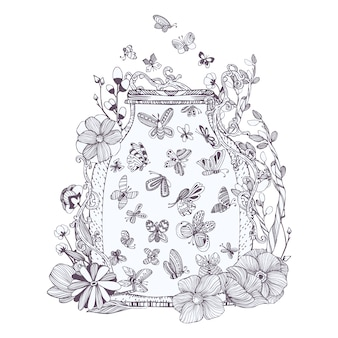 Jar cheio de borboletas ilustração