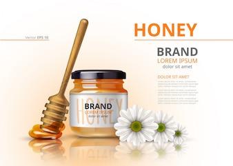 Jarra de mel de acácia com dipper de madeira Vector realista mock up flower background