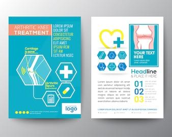 Joelho artrite Health Care Tratamento e modelo Medical Poster Folheto de layout