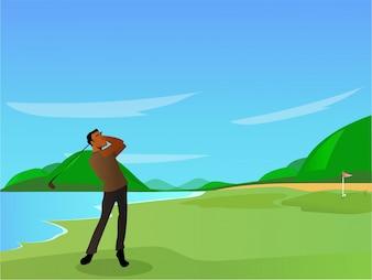 Jogador de golfe no campo de golfe, conceito esportivo.