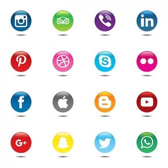 Jogo colorido e circular de ícones de mídia social