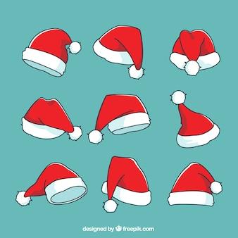 Jogo das desenhado à mão chapéu de Papai Noel