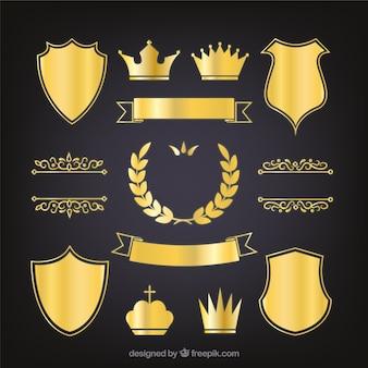 Jogo das elegantes escudos heráldicos dourados
