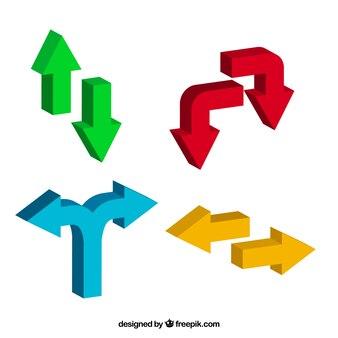 Jogo das setas de cor tridimensionais