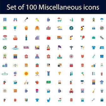 Jogo de 100 ícones lisos definido para web e móveis aplicativos