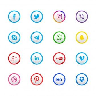 Jogo de 16 ícones sociais da rede