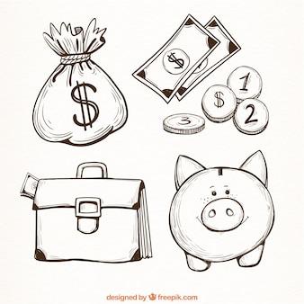 Jogo de artigos de dinheiro no estilo desenhado mão