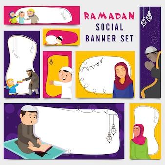 Jogo de bandeiras coloridas com personagens Ramadan