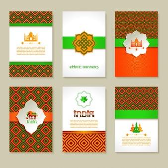 Jogo de bandeiras indianas étnicos no projeto nacional layout de cores