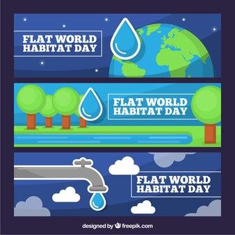 Jogo de bandeiras planos para comemorar o dia do habitat do mundo