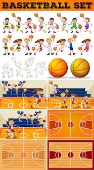 Jogo de basquete com ilustração de jogadores e tribunais
