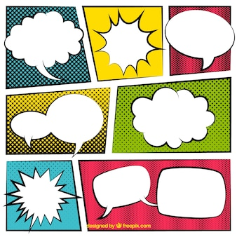 Jogo de bolhas do discurso com vinhetas em quadrinhos