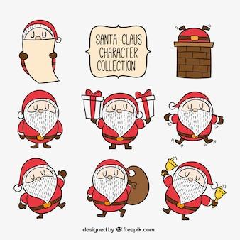 Jogo de caráteres desenhados mão de Papai Noel
