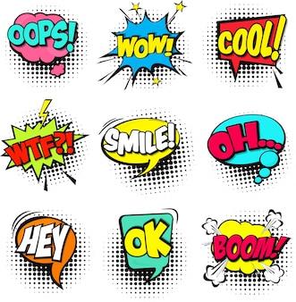 Jogo de caricatura comic fala bolhas Dialog nuvens com palavra e som