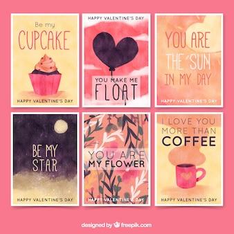Jogo de cartões da aguarela com mensagens de amor