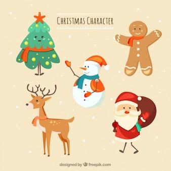 Jogo de cinco caracteres do Natal que sorri