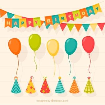 Jogo de decoração de aniversário com balões e chapéus