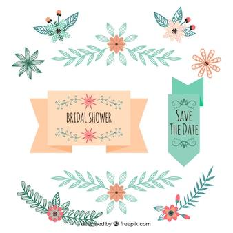 Jogo de decorações florais para casamentos