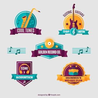 Jogo de emblemas de instrumentos musicais no estilo do vintage