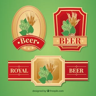 Jogo de etiquetas retros elegantes da cerveja