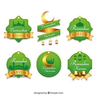 Jogo de etiquetas verdes e douradas do ramadan