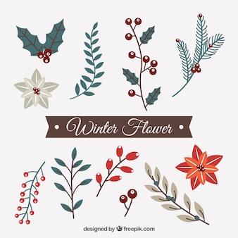 Jogo de flores decorativas de inverno