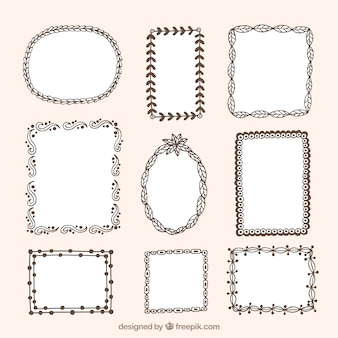 Jogo de frames decorativos com detalhes florais desenhados à mão