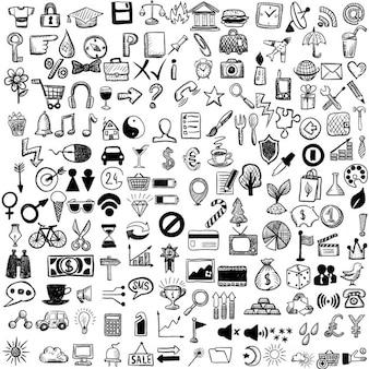 Jogo de ícones do esboço
