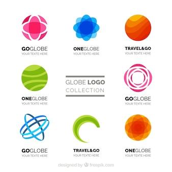 Jogo de logotipos abstratos do globo