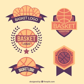 Jogo de logotipos de basquetebol do vintage