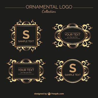Jogo de logotipos ornamental dourado do vintage