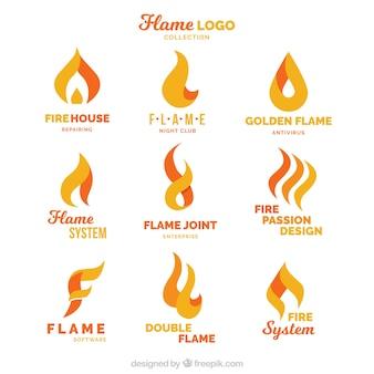 Jogo de nove logotipos de chama no design plano