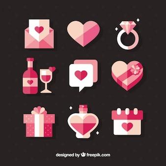 Jogo de objetos do branco e rosa para o Dia dos Namorados