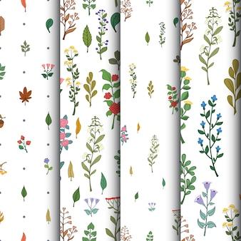 Jogo de padrões florais sem emenda Ilustração vetorial