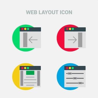 Jogo de quatro atraentes ícones de layout web útil