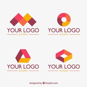 Jogo de quatro logotipos geométricas