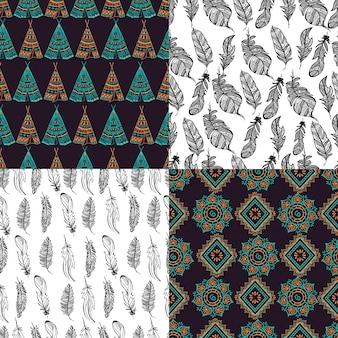 Jogo de quatro testes padrões decorativos no estilo boho