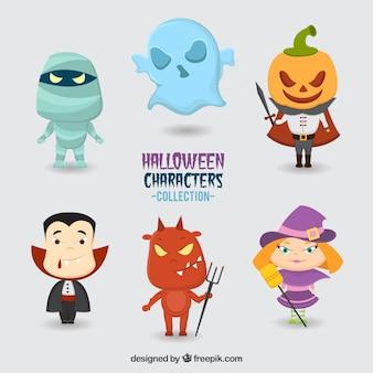 Jogo de seis caracteres do dia das bruxas desenhados à mão