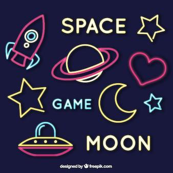 Jogo de sinais espaciais néon