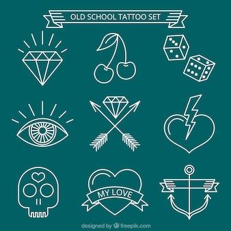 Jogo de tatuagens brancas desenhadas à mão