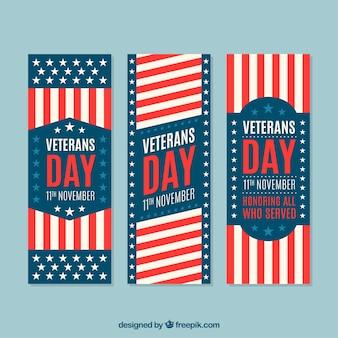 Jogo de três bandeiras do dia de veteranos