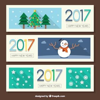 Jogo de três bandeiras planas com elementos do Natal